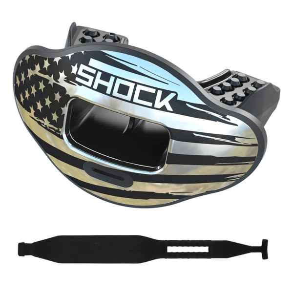 Max AirFlow 2.0 Chrome Silver Flag Shock Doctor Mouthpice mit Strap