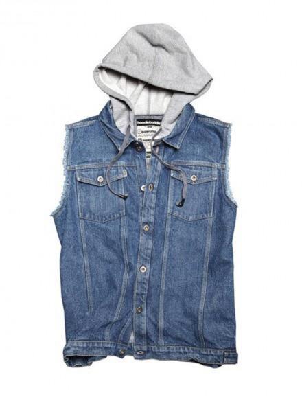 Jeansweste mit Baumwollkaupuze - blau